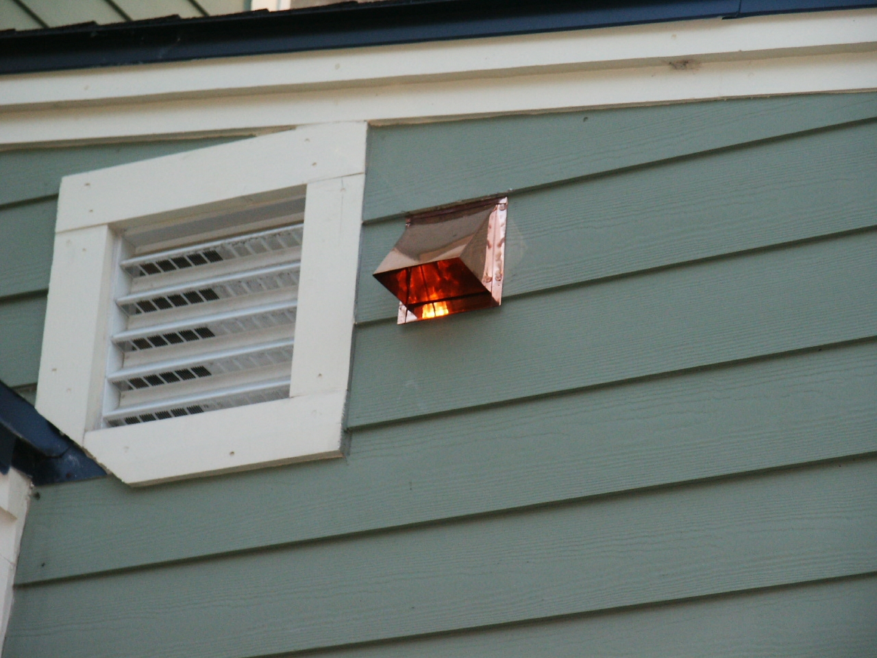 Copper Side Wall Vent Installed On Siding