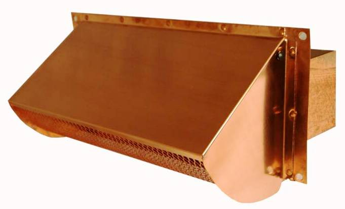 Copper square outside vent cover for Exterior vent covers
