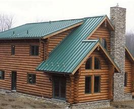 Green Cabin Metal Roof