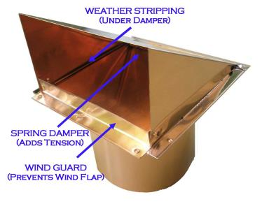 copper wind defender wind blocking side wall vent cap